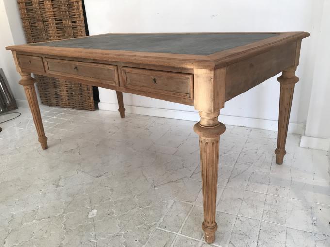 Mesa escritorio 3 cajones a os 40 francia caoba y piel - Mesa escritorio negra ...